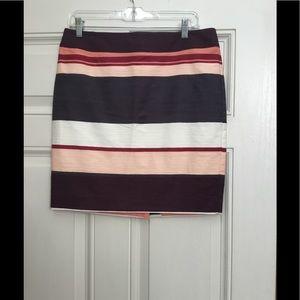 New Loft Outlet Petite Multicolor Striped Skirt